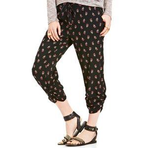 American Rag Black Floral Harem Soft Cropped Pants